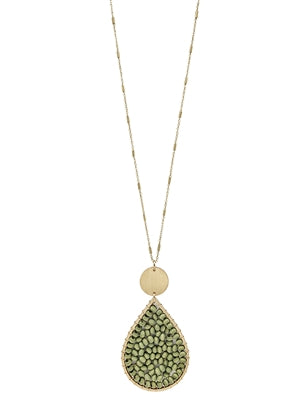 Sage Green Wood Teardrop Necklace