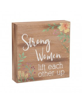 Strong Women Wood Box Sign