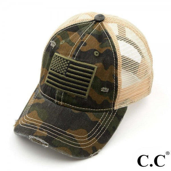 Green Camo USA Flag Baseball Cap