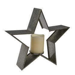 Galvanized Metal Star Candle Holder