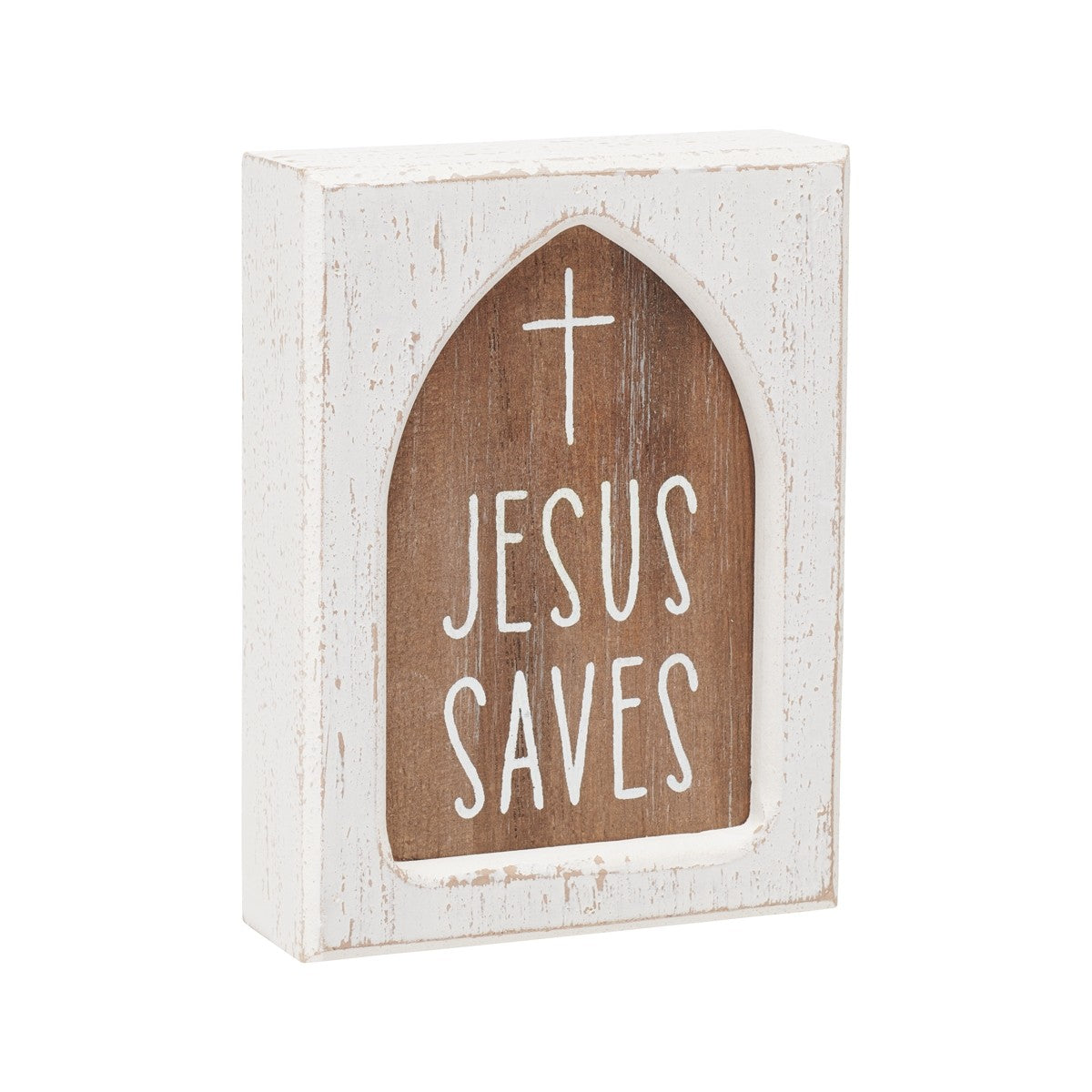 Jesus Saves Layered Block Sign
