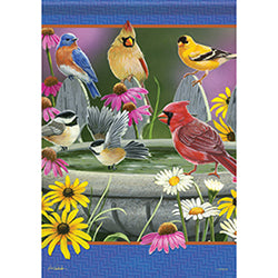 Bird Bath Meeting Garden Flag