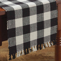 Wicklow Check 13x54 Table Runner - Black/Cream