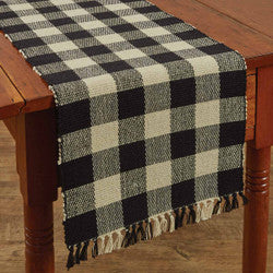 Wicklow Check 13x54 Table Runner Black/Tan
