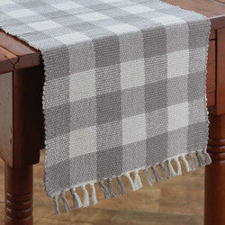 "Wicklow Check 36"" Table Runner Dove (Gray/White)"