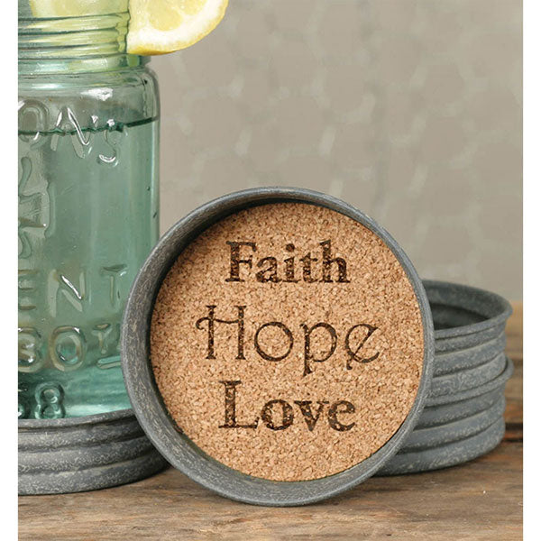 Mason Jar Lid Coaster - Faith Hope Love