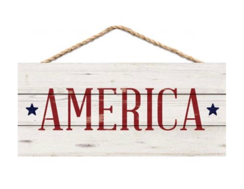 America Sign with Jute Hanger