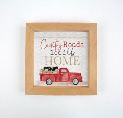 Country Roads Framed Sign