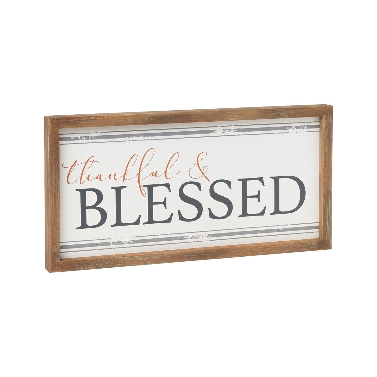 Thankful Striped Framed Sign