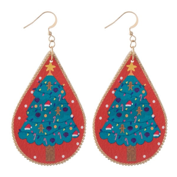 "Christmas Tree 3"" Teardrop Earrings"
