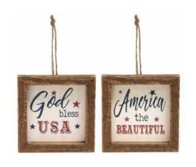 America Wood Frame Ornaments