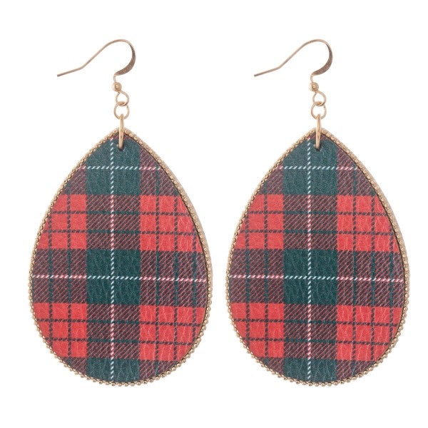"Wine Plaid Print 3"" Teardrop Earrings"