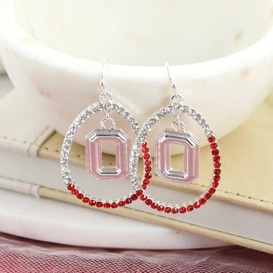 Ohio State Crystal Loop Earrings