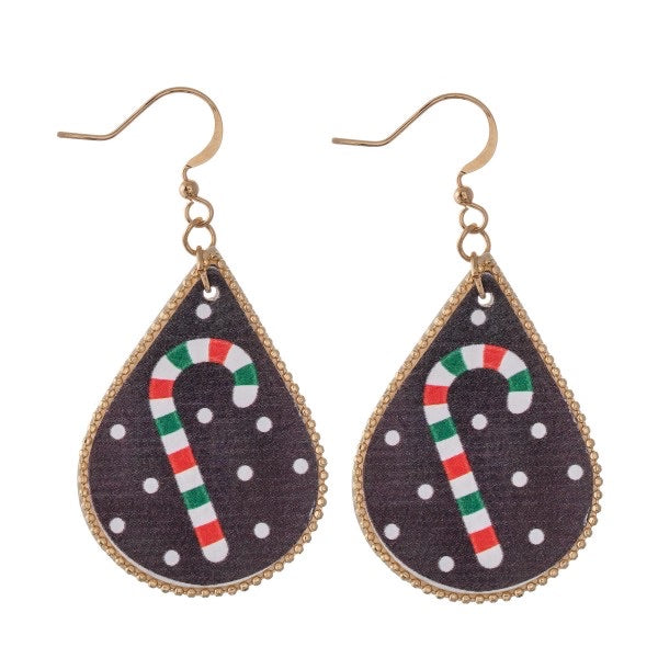 Candy Cane Teardrop Earrings
