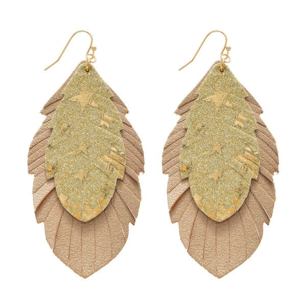 Star Glitter Feather Drop Earrings - Gold
