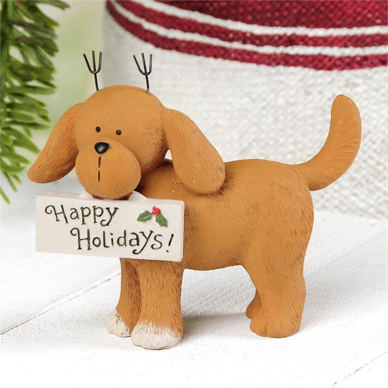 Happy Holidays Dog with Antlers