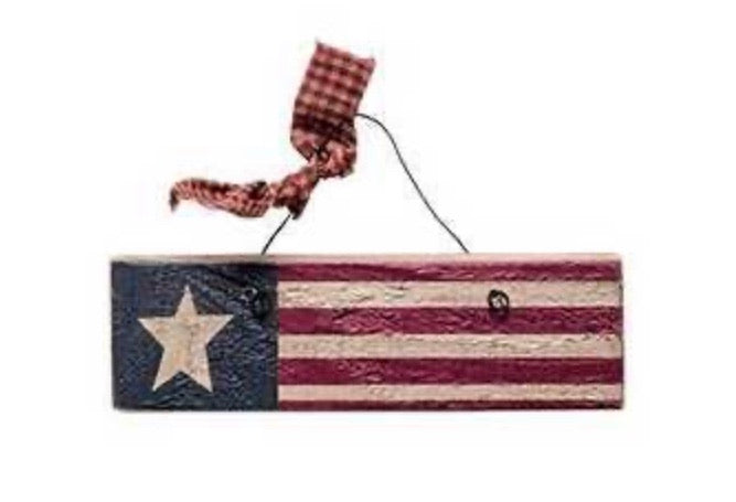 Wood Flag Ornament