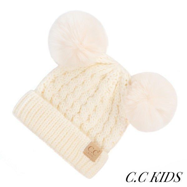 C.C Kids Double Pom Beanie - Cream