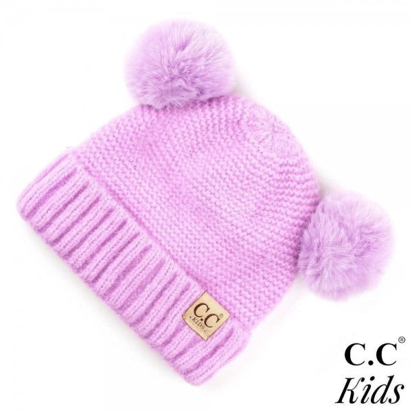 C.C Kids Ribbed Knit Double Pom Beanie - Lilac