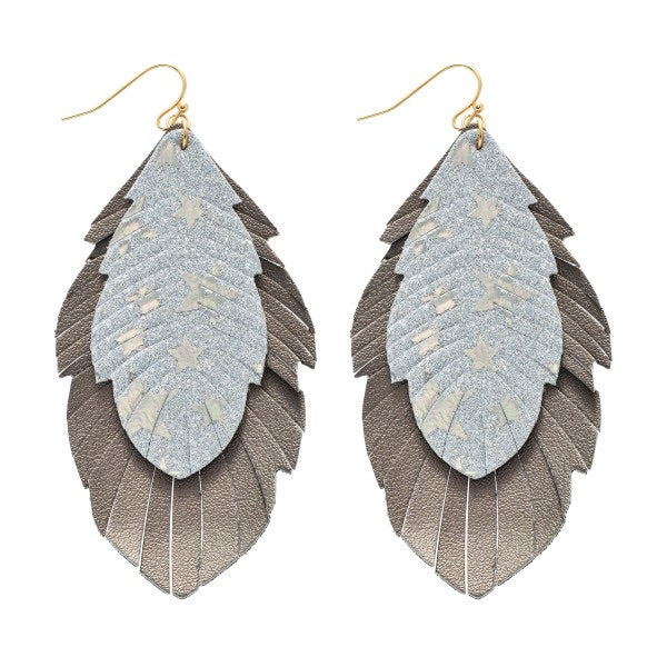 Star Glitter Feather Drop Earrings - Silver