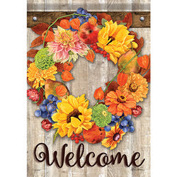 Autumn Bounty Wreath Garden Flag