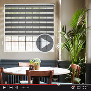 Motorized Roller Shade | Motorized Zebra Roller Shade | Charcoal