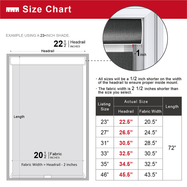 freestop cordless roller shade white size chart