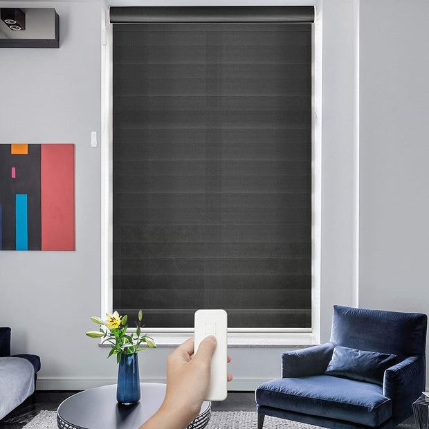 Motorized Roller Shade | Motorized Zebra Roller Shade | Charcoal - GoDear shop