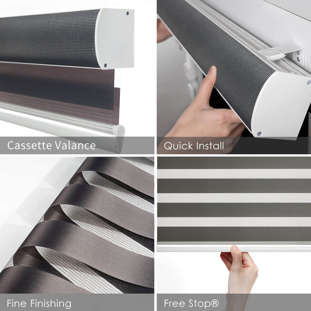 Free Stop Roller Shade | Zebra Roller Shade | Iron Gray