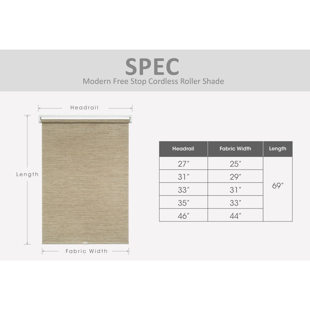 cream freestop cordless roller shade size chart
