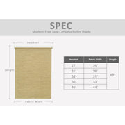 roller shade size chart