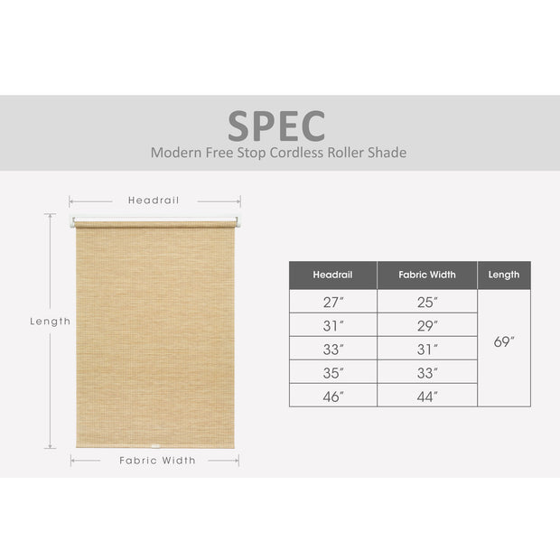 cordless roller shade size chart