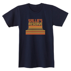 Willie's Reserve Outlaw Tee - Navy tee with an orange and gold logo printed on American Apparel