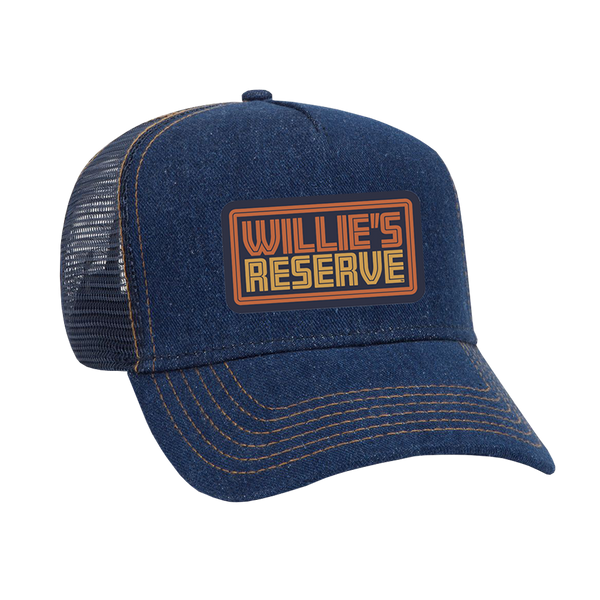Willie's Reserve - Denim hat with an orange and gold Willie's Reserve logo embroidered patch.