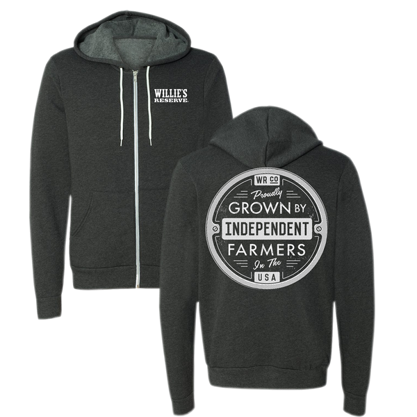 Willie's Reserve - Grey and White Farmer Zip Hoodie Printed on Independent