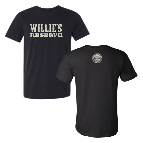 Willie's Reserve - Men's black and white logo tee printed on Bella + Canvas
