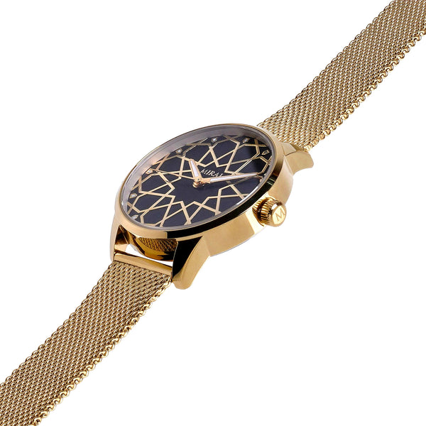 Alhambra Women - Gold & Black Swiss Watch - MirajCollections