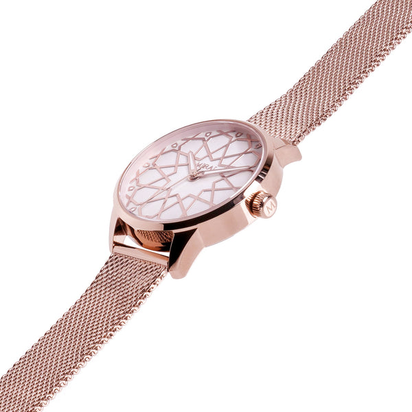 Alhambra Women - Rose Gold & White Swiss Watch - MirajCollections