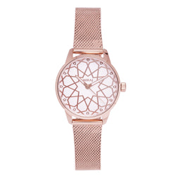 Alhambra Women - Rose Gold & White Watch - Geometric Watch with Islamic Design