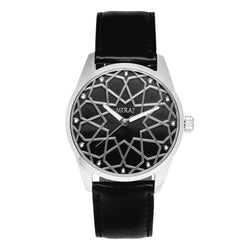 Alhambra Men - Silver & Black Swiss Watch - MirajCollections
