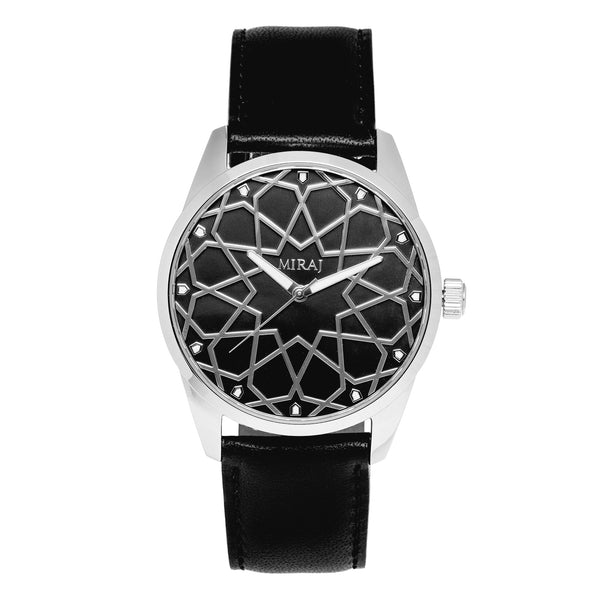 Alhambra Men - Silver & Black Swiss Watch - Geometric Watch with Islamic Design