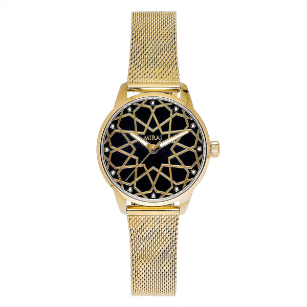 Alhambra Women - Gold & Black Watch - Geometric Watch with Islamic Design