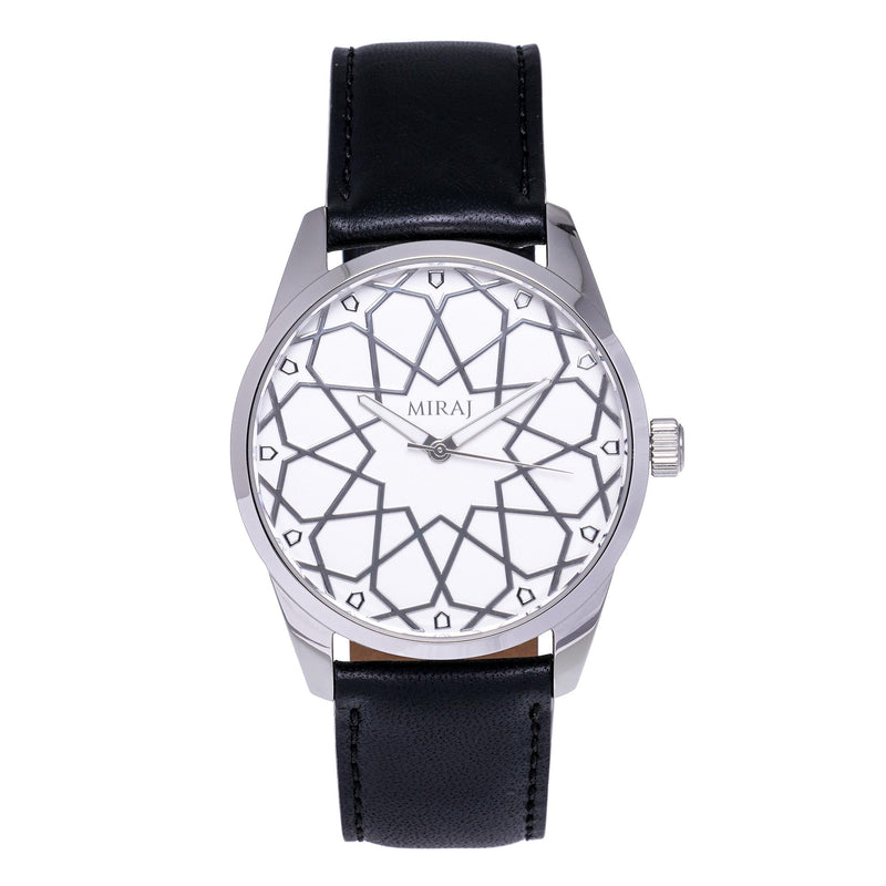 Alhambra Men - Silver & White Watch - Geometric Watch with Islamic Design