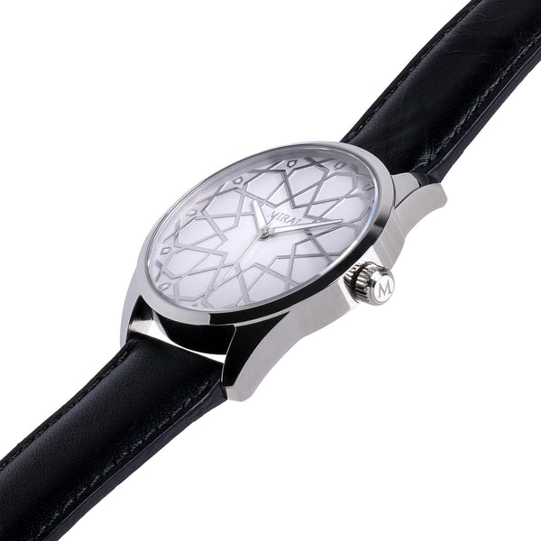 Alhambra Men - Silver & White Swiss Watch - Geometric Watch with Islamic Design