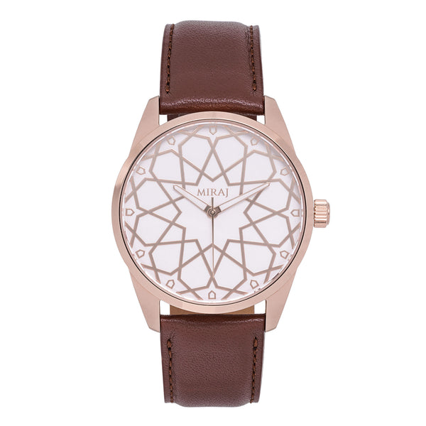 Alhambra Men - Rose Gold & White Swiss Watch - Geometric Watch with Islamic Design