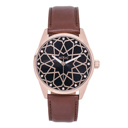 Alhambra Men - Rose Gold & Black Swiss Watch - Geometric Watch with Islamic Design