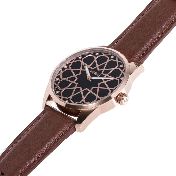 Alhambra Men - Rose Gold & Black Watch - Geometric Watch with Islamic Design