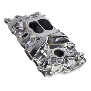1955-1995 SBC CHEVY 262/283/302/327/350/383/400 CARBURETED DUAL PLANE INTAKE MANIFOLD POLISHED