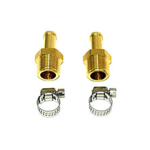 "Load image into Gallery viewer, 3/8"" BRASS BARBED FITTINGS WITH HOSE CLAMPS 2 PACK"