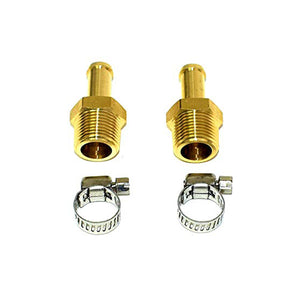 "3/8"" BRASS BARBED FITTINGS WITH HOSE CLAMPS 2 PACK"